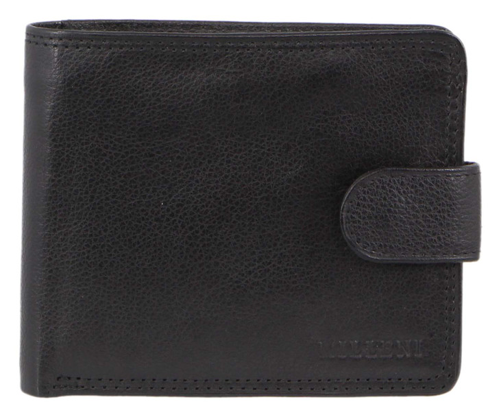 Milleni  Mens Leather Tab  Wallet in Black (C10542) - Closed