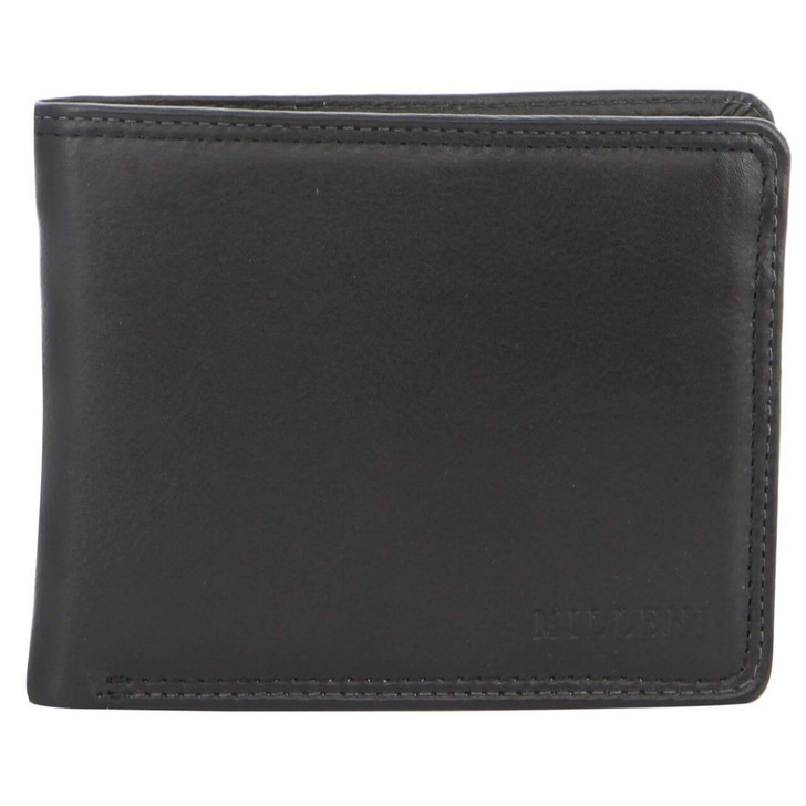 Milleni Mens Leather Bi-Fold Wallet in Black (C5129) - Closed