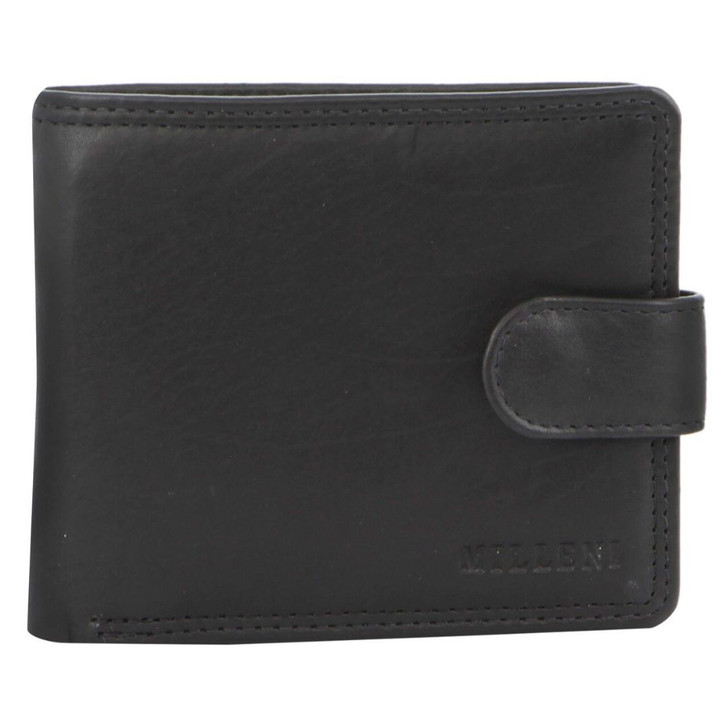 Milleni Mens Leather Tab Wallet in Black (C5130) - Closed