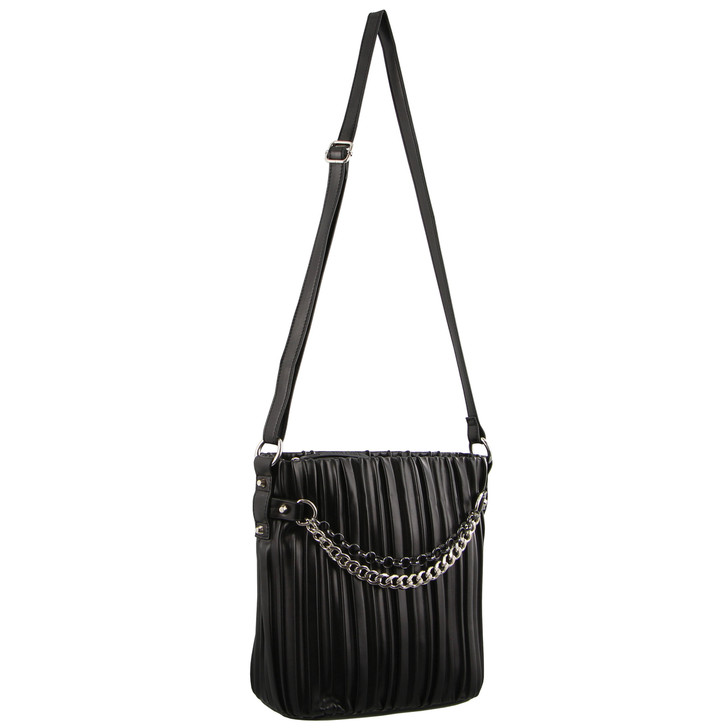 Milleni Cross Body Bag with front chain in Black (NC2911)