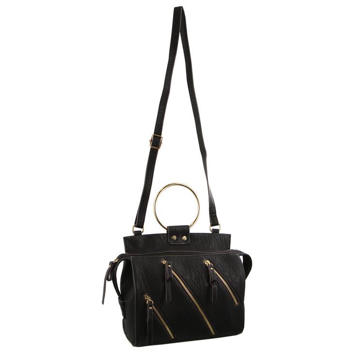 Milleni Cross Body Handbag with metal handles in Black (NC2723)