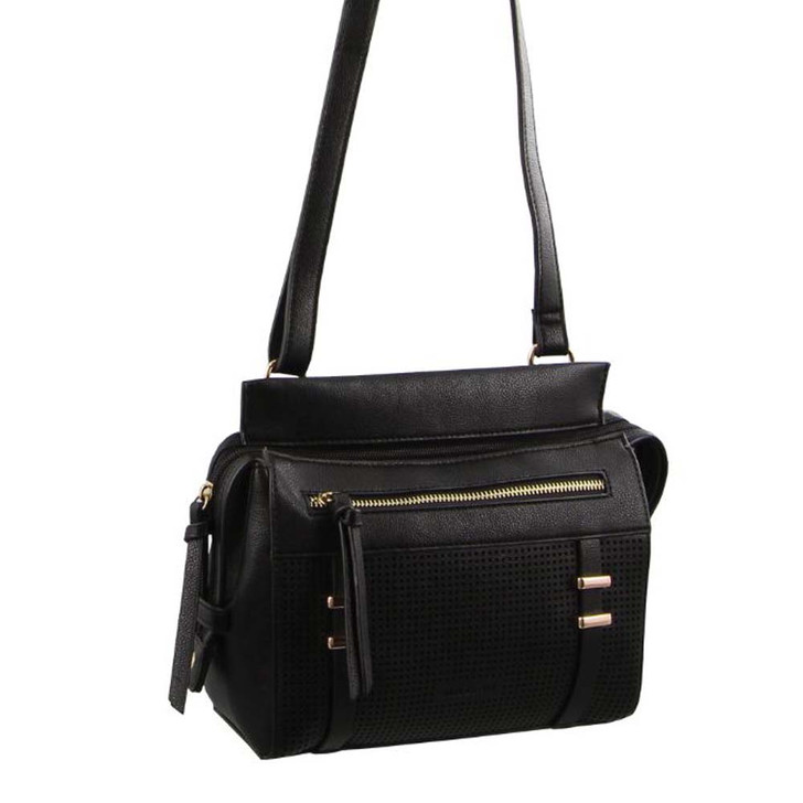 Milleni Cross Body Handbag with perforated detail in Black (NC2681)