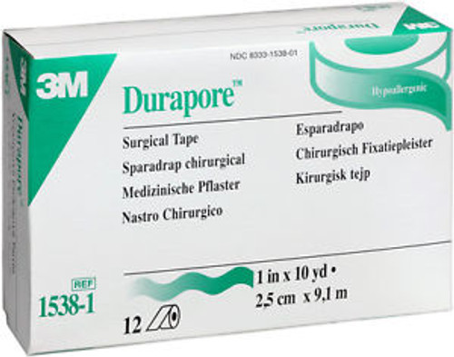 """3M-1538-1 Durapore Hypoallergenic Surgical Tape 1"""" X 10 YD BX/12 (3M-1538-1)"""