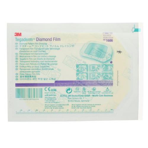3M-1686 Tegaderm Diamond Pattern Transparent Film Dressing, 10 cm x 12 cm (4 in x 4-3/4 in)