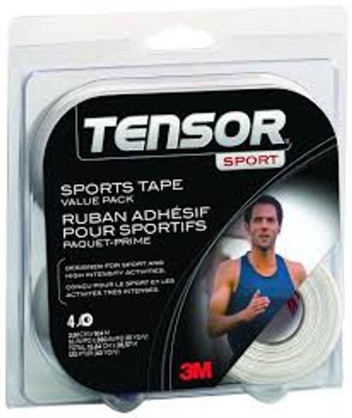 3M-201967 Tensor Sport Tape, 38.1mm x 9.14m, 4 Roll Value Pack, White 4/PK ()