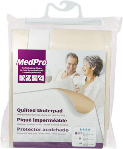 """MEDPRO 760-180 QUILTED UNDERPAD REUSABLE White SML MODERATE-HEAVY ABSORBENCY 24"""" X 36"""" (760-180)"""