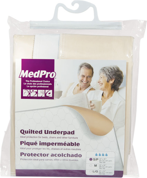 """MEDPRO 760-182 REUSABLE UNDERPAD MODERATE-HEAVY ABSORBENCY White MEDIUM 34"""" X 36"""" (760-182)"""