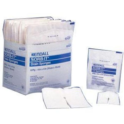 """Covidien 6242P Dermacea Drain Sponge, Sterile 2's in Peel-Back Package, 4"""" x 4"""", 6-ply (Pack of 50) (Covidien 6242P)"""