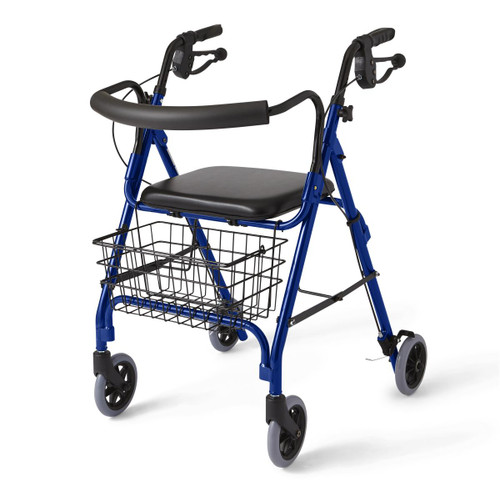 Medline MDS86810B ROLLATOR,DELUXE,BLUE,250 LBS,CURVED BAC CS 1/CS