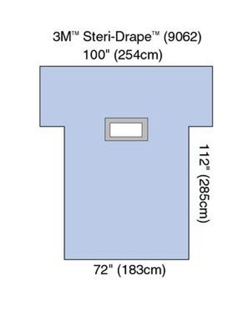 "3M-9062 STERI-DRAPE LAPAROTOMY LAPAROSCOPY 72 X 112"" ARM EXT 101"" BX/12"