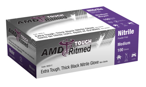 AMD 9950-F BLACK NITRILE GLOVES, POWDER-FREE, 2X-LARGE, INDUSTRIAL BX/100