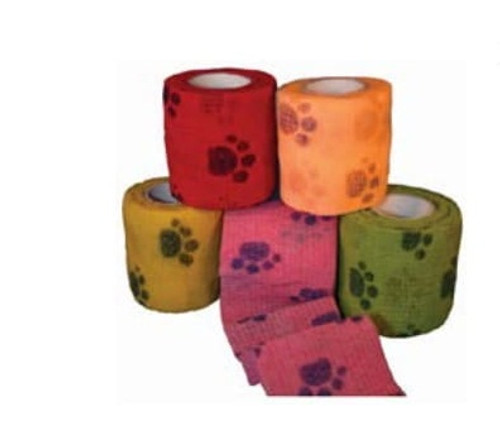 "AMD A2061-PPA CS/36 COHESIVE BANDAGES 2"" X 5YDS, ASSORTED PAW PRINT COLORS"