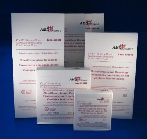 """AMD A50066 (CS/10) BX/15 STERILE ISLAND DRESSING, 6"""" X 6"""" W/ 4"""" X 4"""" PAD (AMD A50066)"""