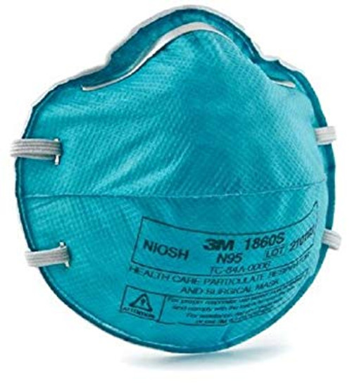 3M 1860S Mask Cone N95,RESPIRATOR HALF-MASK PARTICULATE N95 SOFT INNER SHEL DISP W/BOOMERANG,  Small, 20/bx, BX