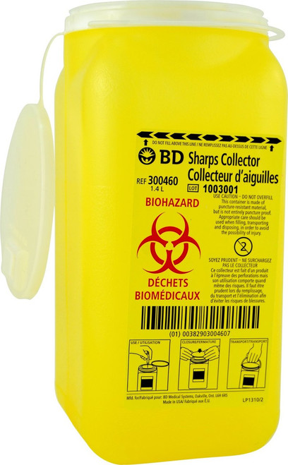 BD-300460 tray sharps collector 1.4 L Yellow with funnel entry