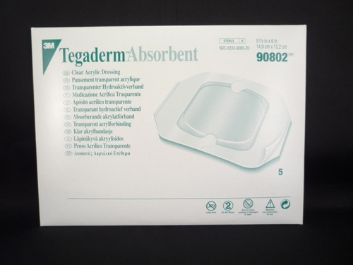 3M-90802 Tegaderm Absorbent Clear Acrylic Dressing, Small Square Pad