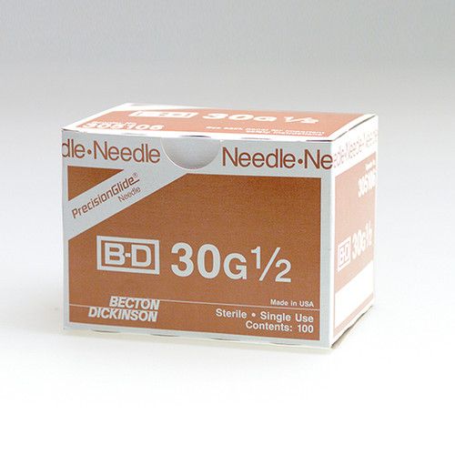 "BD 305106 PRECISIONGLIDE Needle STERILE CONVENTIONAL 30G x 13mm (0.5"") 100/bx"
