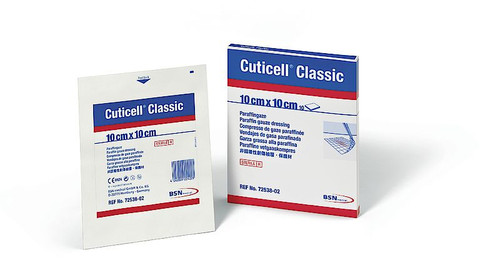 BSN-7253802 CUTICELL CLASSIC NON-ADHERENT DRESSING IMPREGNATED W/PARAFFIN 10CM X 10CM (RETAIL PACK) BX/10