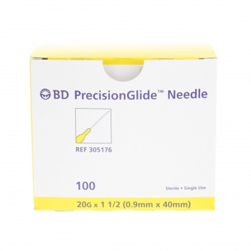 """BD 305176 NEEDLE STERILE BD PRECISIONGLIDE CONVENTIONAL Regular Bevel 20G x 33mm (1.5"""") 100/bx"""