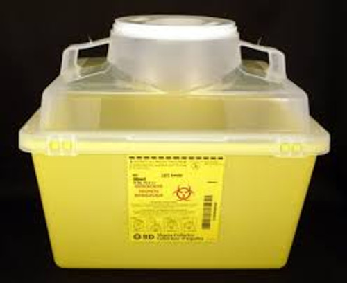 BD 300443 13.2L nestable sharps collector. Yellow base, natural top with small funnel entry (300443)