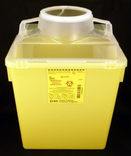"""BD 300434 22.7L nestable sharps collector, 17.5"""" x 12.5"""" x 8.5"""". Yellow base, natural top with vertical entry. (300434)"""
