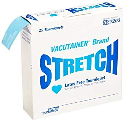 """BD 367203 Vacutainer Stretch Latex-Free Tourniquet 1"""" x 18"""" Blue & Disposable BX/25"""