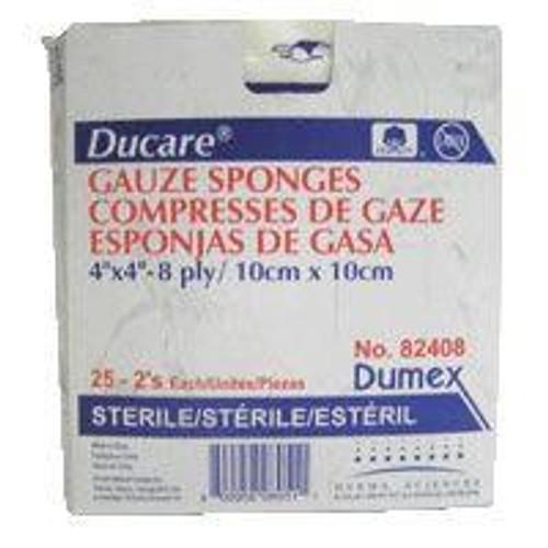 """DUP 82208 BX/50PK (2/PK) DUCARE WOVEN GAUZE SPONGE 2"""" x 2"""", 8-PLY, STERILE (DUP 82208)"""