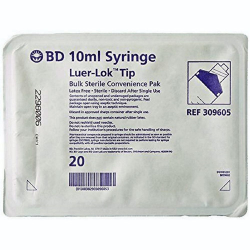 BD 309605 Syringe 10cc, Luer/Lok Tip, Convenience Pack, BULK Sterile