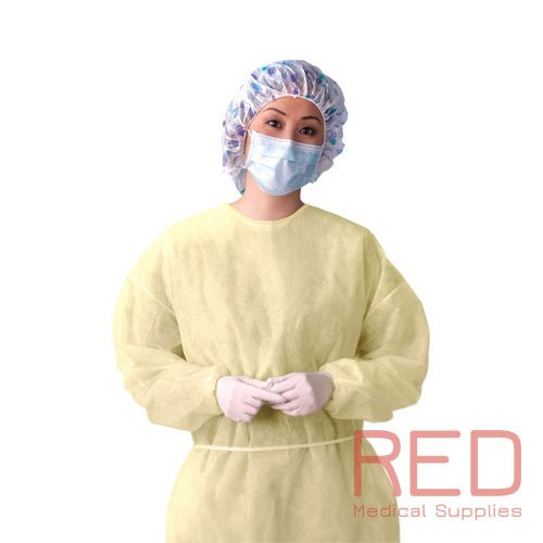 PM 427370 (CS/10) PK/10 PRIMED OVERHEAD ISOLATION GOWN, YELLOW, UNIVERSAL (PM 427370)