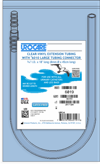 """UROCARE 6019 CLEAR VINYL TUBING WITH CONNECTOR, SIZE 18"""" LENGTH"""