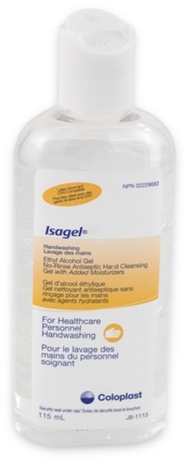 Coloplast 1644 ISAGEL Antiseptic HAND CLEANSING GEL 4oz (118mL) bottle (Case of 36)