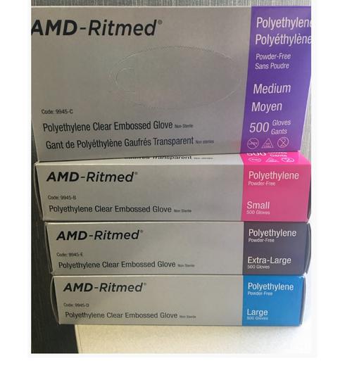 AMD 9945-C AMD RITMED POWDER-FREE TRANSPARENT POLYETHYLENE GENERAL USE GLOVES-MEDIUM (CS20) BX/500