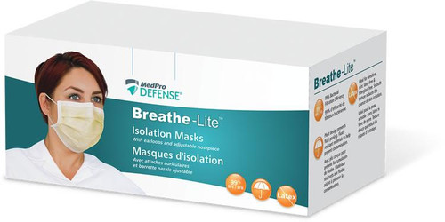 AMG 018-244 MEDPRO DEFENSE BREATHE-LITE ISOLATION MASK WITH EARLOOPS, 3-PLY, (CS/6) BX/50