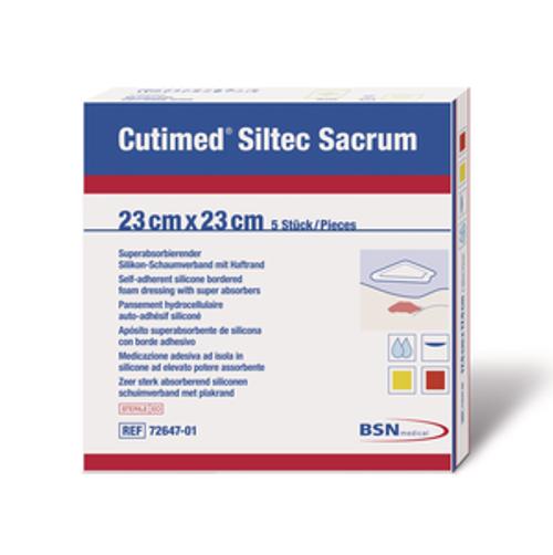 BSN 7328701 CUTIMED SILTEC B FOAM DRESSING W/SUPER ABSORB AND SIL LAYER, SACRUM, ADH BORDER, 23CM X 23CM BX/5