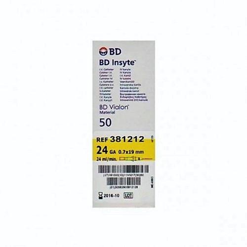 "BD 381212 IV CATHETER INSYTE 24GA x 0.75"" YLW BX/50 (BD 381212)"