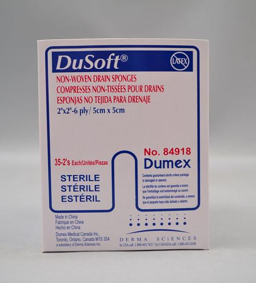 Derma Sciences 84918 NON-WOVEN DRAIN SPONGE 2X2 STERILE 6-PLY, 35/BX, 20 BX/Case