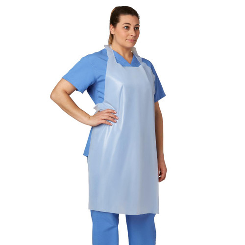 """MEDLINE 24274 PROTECTIVE POLY DISPOSABLE APRON 28"""" X 46"""", WHITE, MEDIUM, PULLOVER, BX/100, BX"""