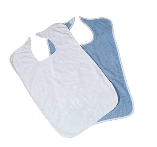 Medline MDTAB3B30BL (CS/2) PK/12 TERRY CLOTH BIBS, BLUE, VELCRO CLOSURE