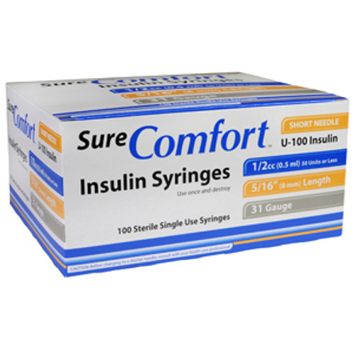 "Allison Medical 22-6505 SURE COMFORT 1/2cc INSULIN SYRINGE, 31 G, 5/16"" (8mm)"