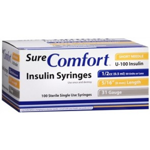 "Allison Medical 22-8005 SURE COMFORT INSULIN SYRINGE, 28 G, 1/2"" (12mm), 1/2cc BX/100"