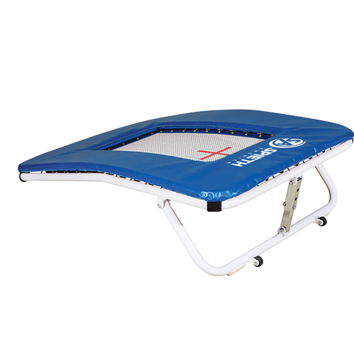 """Mini, adjustable trampoline with a total top trampoline surface of 24"""" W x 36"""" H. Wheels on the frame allow for easy transport while rubber grips on the bottom prevent sliding. ITEM NO: 5006-100"""