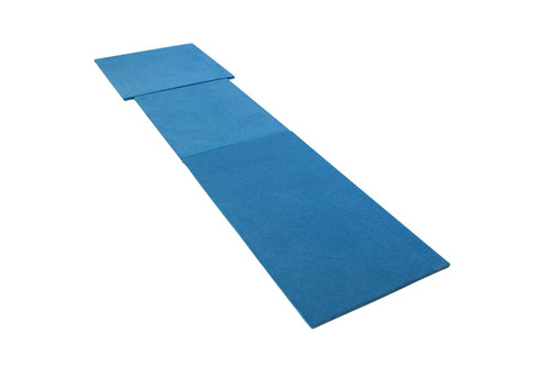 """The Wooden Platform Vaulting System allows there to be a uniform approach surface (no height difference between the runway and the vaulting table). Each platform is made of 11/16"""" plywood covered in blue carpet for a total thickness of 1"""". The complete systemconforms to FIG standards."""