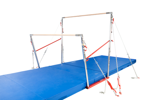 These revolutionary bars are designed to FIG dimensional specifications, while incorporating features for quick and easy adjustments. The pin lock, spring loaded adjusting tubes reduce pinch points when adjusting the uprights. The adjusting handle design allows you to make adjustments to the high bar without reaching over head or standing on a chair. Quick release machine screws allow for fast removal of the rail without removing the adjusting tubes. Bearings incorporated rail heads allow for ease of rail movement for longer rail life.