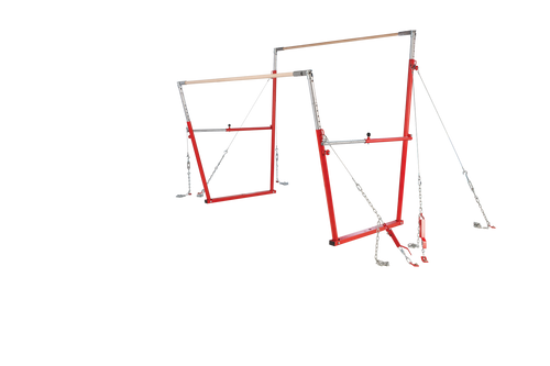 The newly designed Uneven Pro Bars II are still widest bars on the market! However, the cables now attach to the uprights instead of to the rails. Built to FIG, USA Gymnastics, NCAA, NFHS, and AAU specifications.
