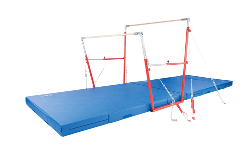 The newly designed Uneven Pro Bars II are still widest bars on the market! However, the cables nowattach to the uprights instead of to the rails. With the 6-ACSYS cable, you can use the high bar as a single bar trainer. Built to FIG, USA Gymnastics, NCAA, NFHS, and AAUspecifications.