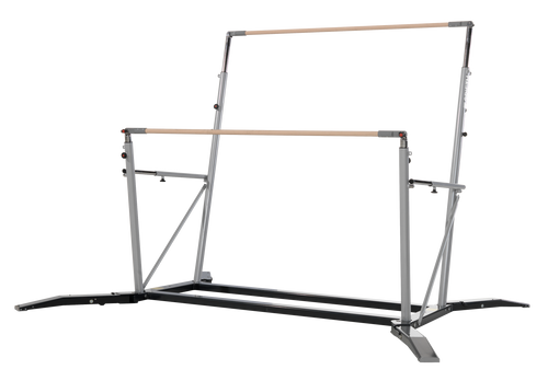 Uneven Bars with retractable legs for higher stability. Easy to operate adjusting tubes assisted by springs. ITEM NO: 1383124