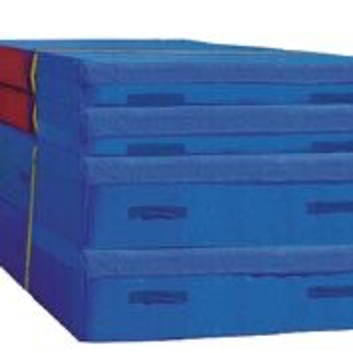 """This 4-piece system includes two base mats (5' W x 10' L x 16"""" H, each) and two additional mats, providing 16"""", 32"""", 40"""", and 48"""" landing surfaces. Meets all specifications for USA Gymnastics Level 3 and Xcel Vault."""