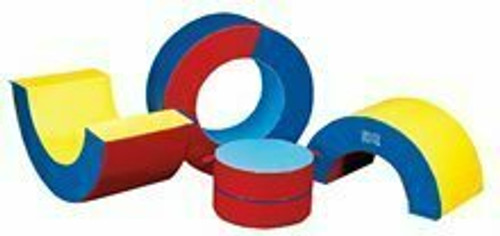 """Donut Stuffer and Halves - 30"""" x 59"""" D, 30"""" x 36"""" D, Royal Blue/Yellow/Red"""