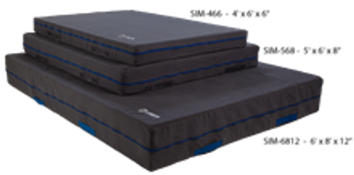 """The Soft Impact Mats are the perfect complementary mat to your training or landing mats, in a loose foam pit or as a trampoline throw mat. They are made with soft polyurethane foam covered with our extra soft 18oz. brushed denim. Handles on each side provide for easy transport.  5' x 6' x 8"""" ITEM NO: SIM-568"""