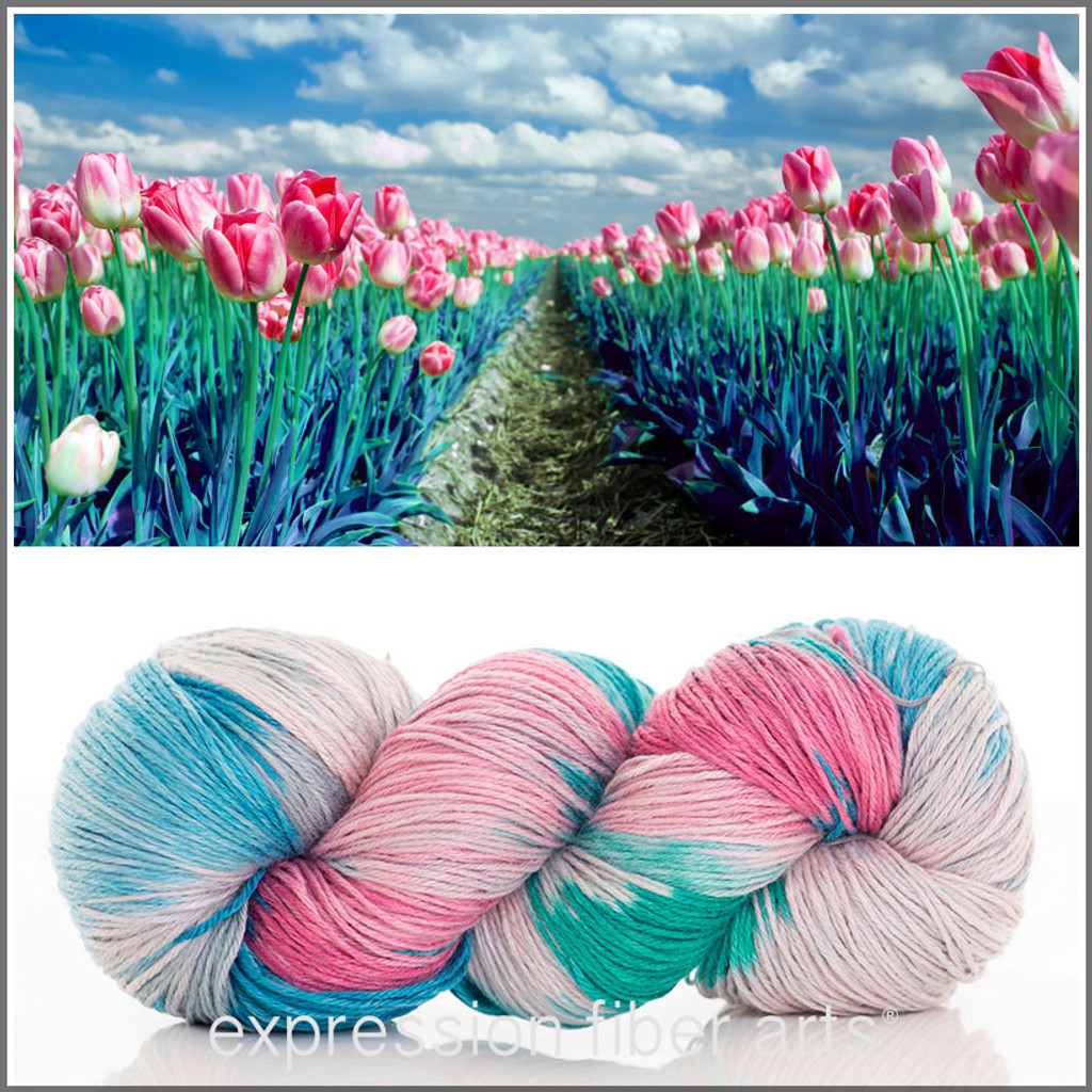 ROW OF TULIPS 'REFINED' MERINO SILK FINGERING